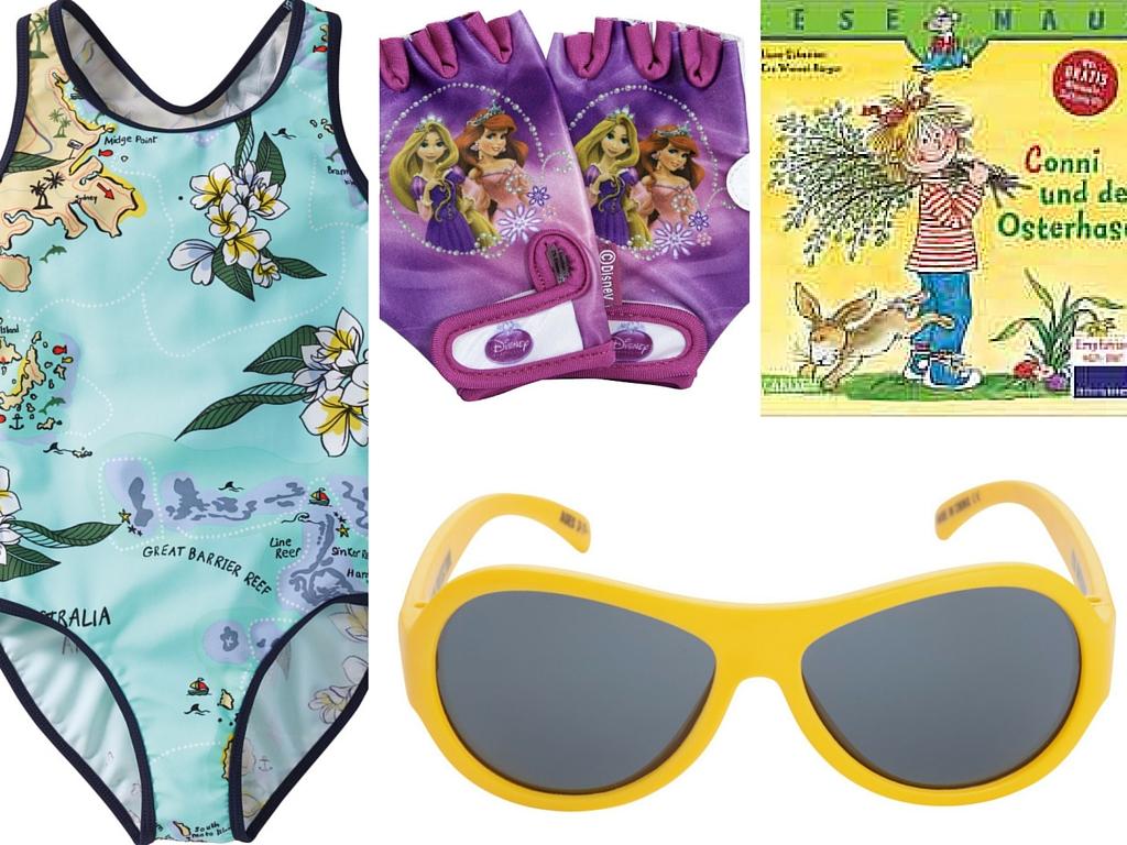Geschenke für das Osternest Sonnenbrille Fahrradhandschuhe Badeanzug Bilderbuch Conni