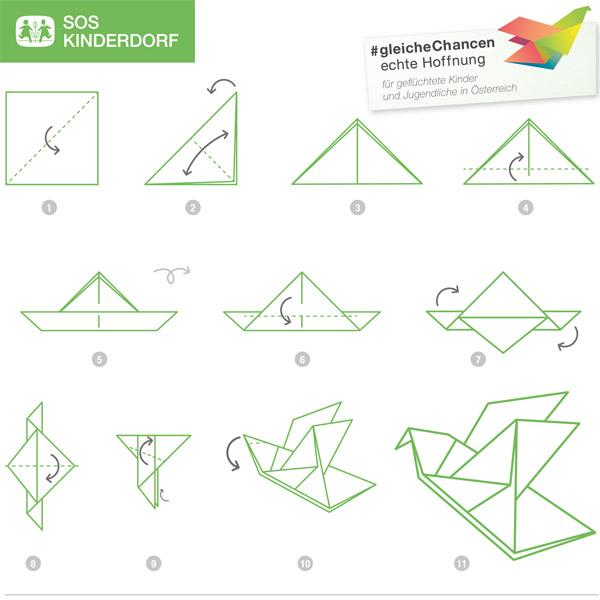SOS Kinderdorf Faltanleitung Origami Kranich
